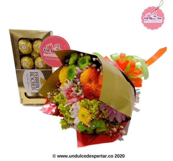 BOUQUET DE FLORES CON CHOCOLATES